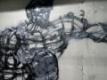 Граффити на стенах зала